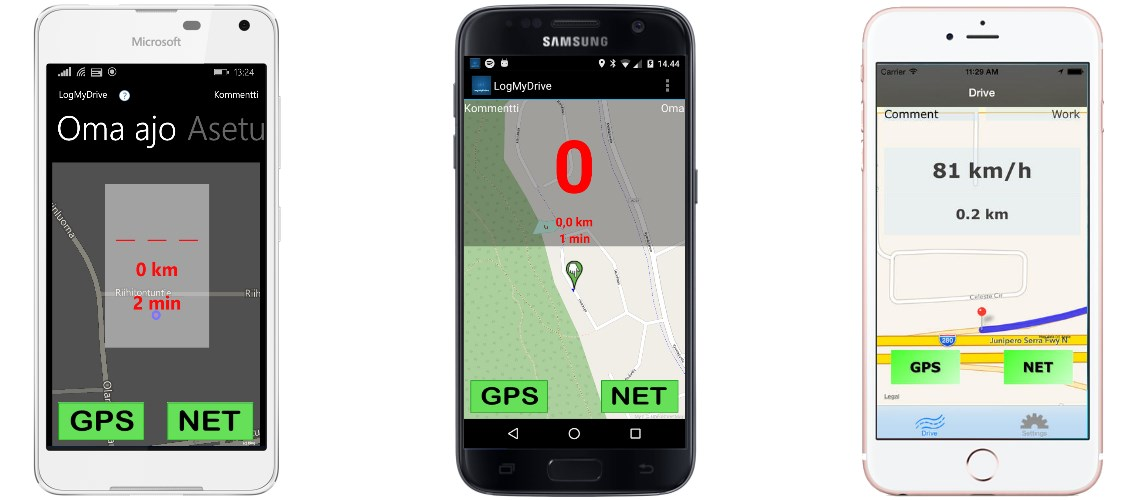 Android, iOS, Windows Phone ajopäiväkirja